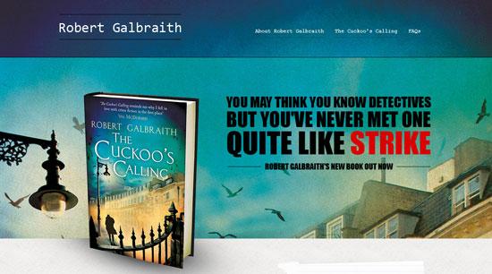 Скриншот официальной страницы Роберта Галбрайта